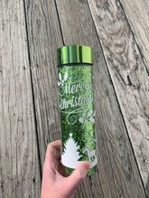 Load image into Gallery viewer, Green Glitter Christmas Inspired Double Wall Water Bottle