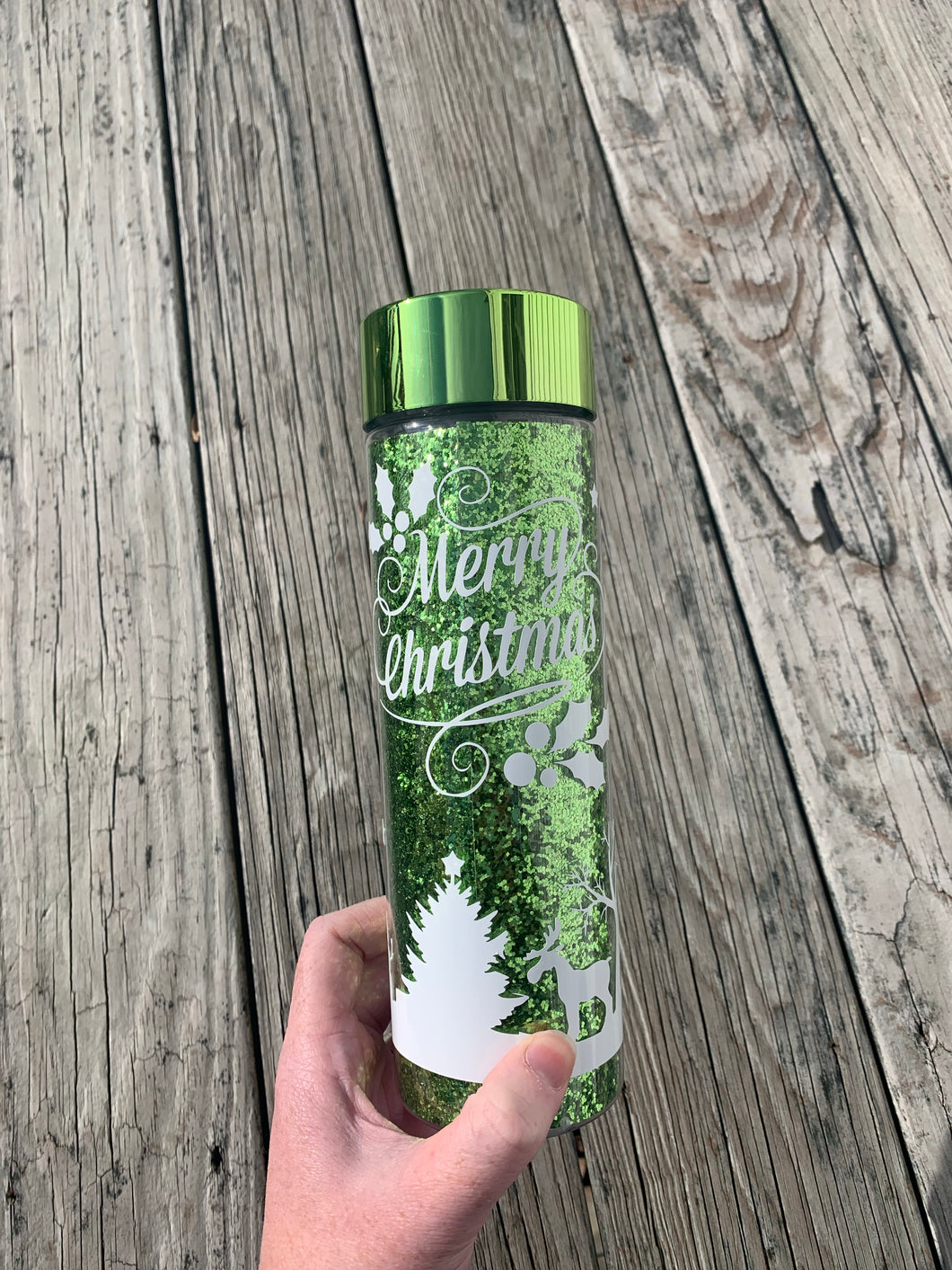 Green Glitter Christmas Inspired Double Wall Water Bottle