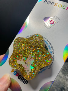 "Gold Glitter ""Shaker"" Star Inspired ""Pop"" Cell Phone Grip/ Stand"