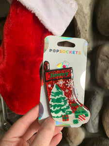 "Personalized Glitter Christmas Stocking Inspired ""Pop"" Cell Phone Grip/ Stand"