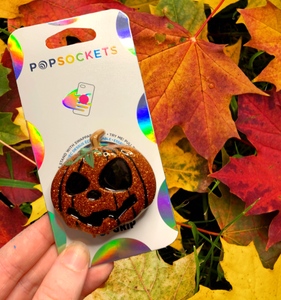 "Glitter Jack-o-Lantern Inspired ""Pop"" Cell Phone Grip/ Stand"