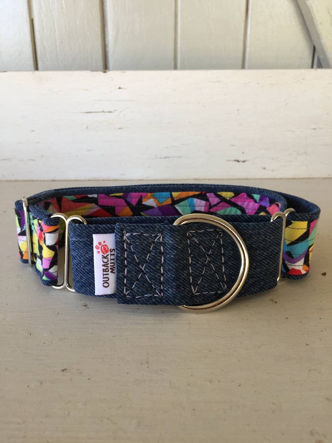 Rescued collar - Denim bright shapes (Large)