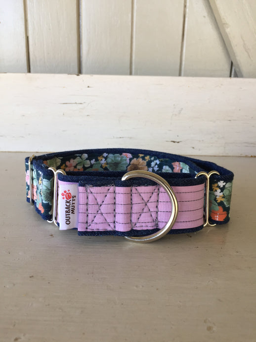 Rescued collar - Pink Floral (Large)