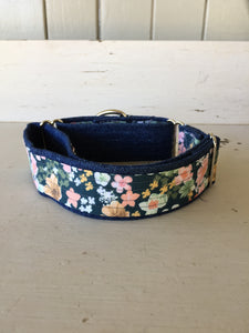 Rescued collar - Denim Floral (Large)