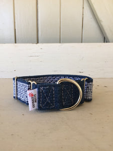 Rescued collar -  Denim navy dash (Medium)