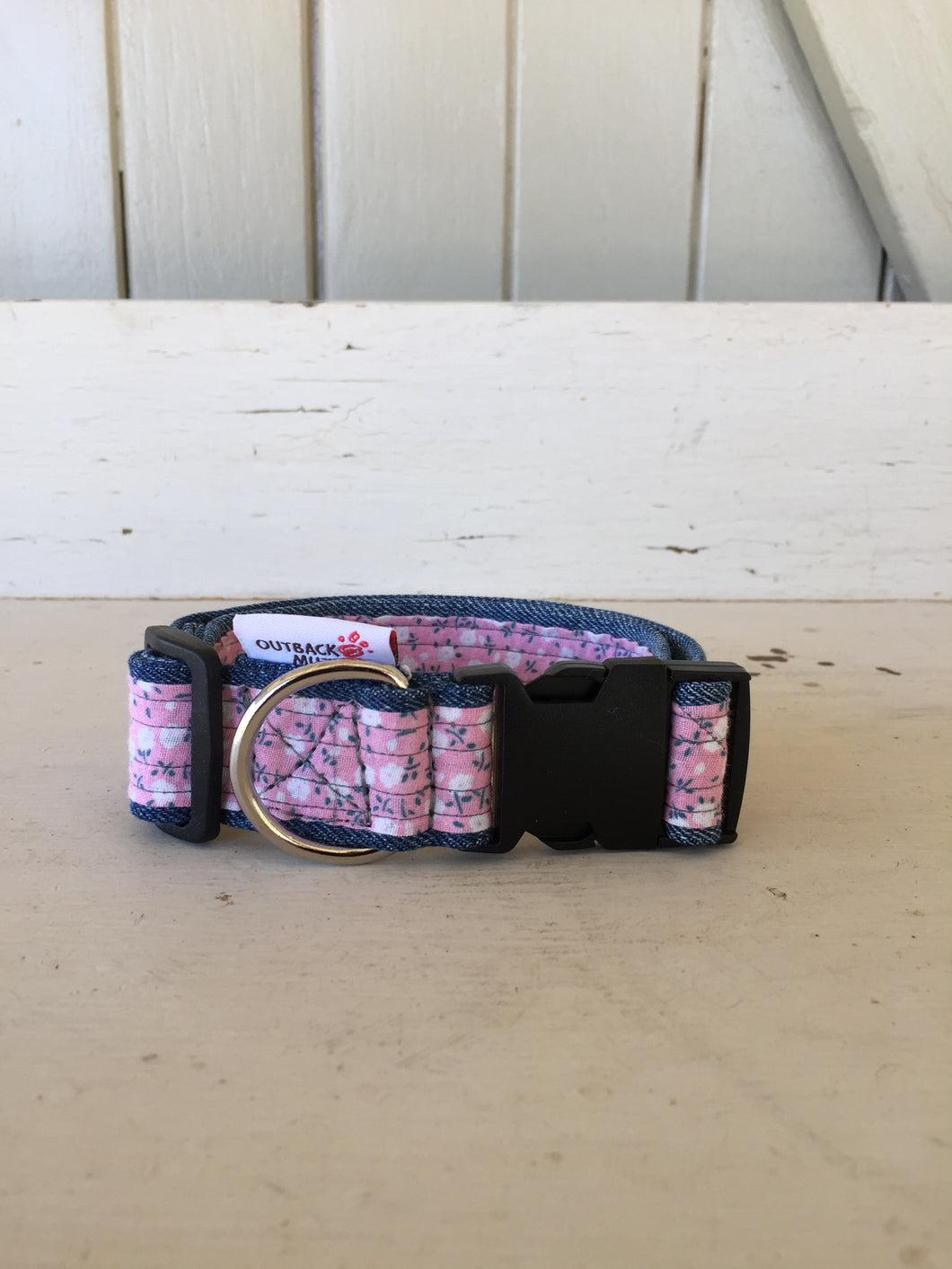 Rescued collar -  Pink floral (Small)