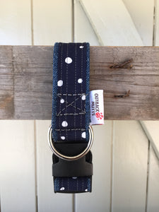 Rescued collar - Navy dot (Small)