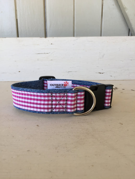 Rescued collar - Pink check (XSmall)