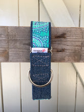 Load image into Gallery viewer, Rescued collar - Denim green paisley (Medium)