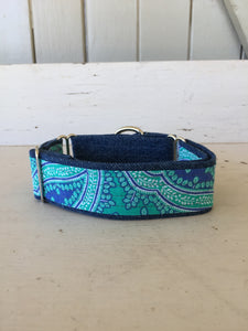 Rescued collar - Denim green paisley (Medium)