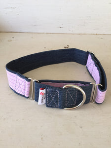 Rescued collar - Denim Pink Stripe