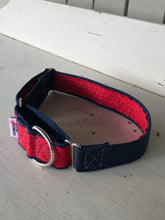Load image into Gallery viewer, Rescued collar - Red Swirl Denim