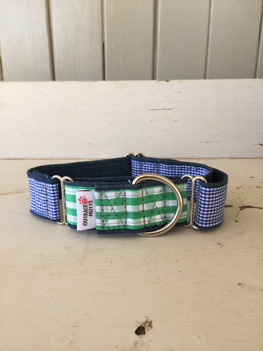 Rescued collar - Green check blue check