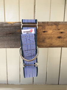 Rescued collar - Blue check (Medium)