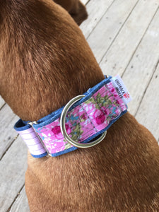 Rescued collar - Pink floral pink