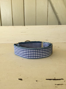 Rescued collar - Navy blue check (Medium)