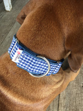 Load image into Gallery viewer, Rescued collar - Navy blue check (Medium)