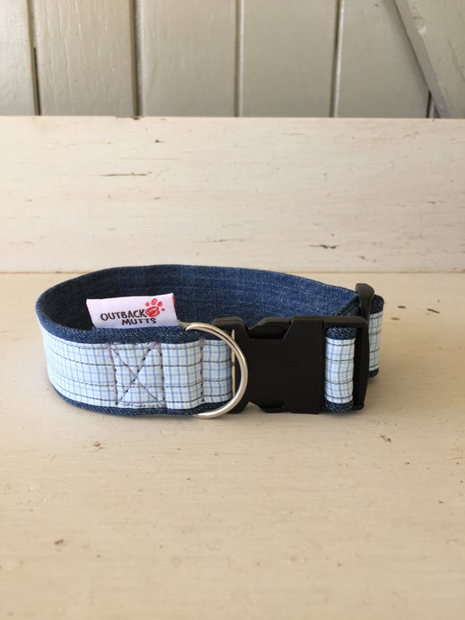 Rescued collar - Light blue check (small)