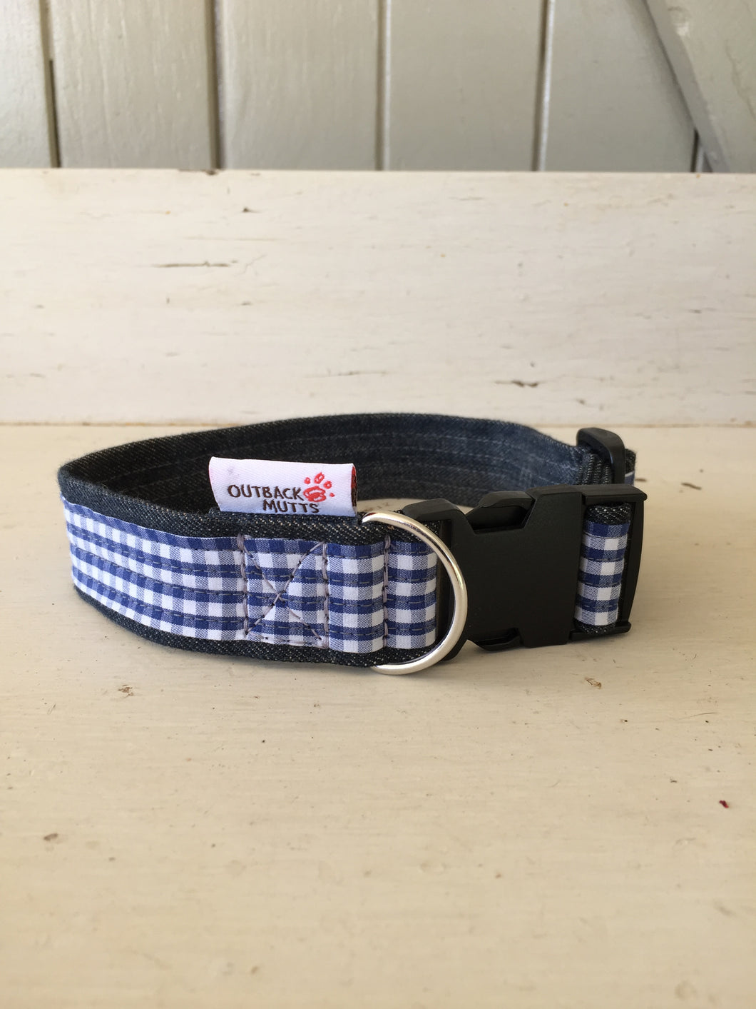 Rescued collar - Blue white check (small)