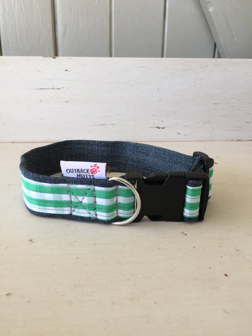 Rescued collar - Green white check (small)