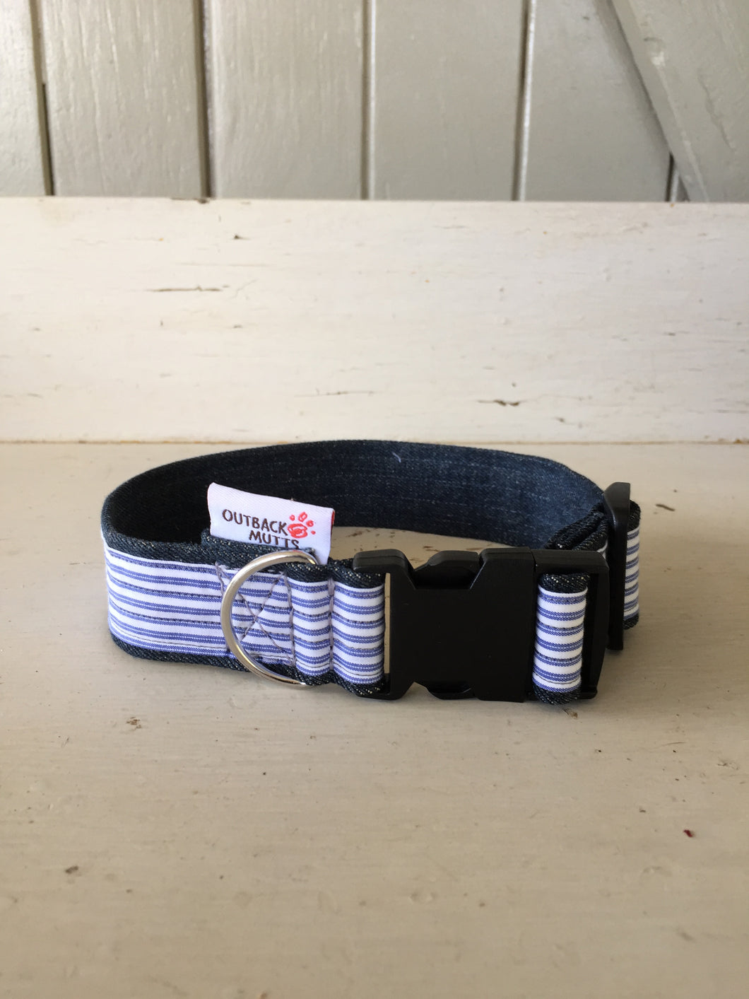 Rescued collar - Blue white stripe (small)
