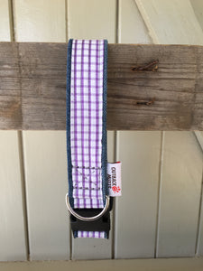 Rescued collar - Purple white check (small)