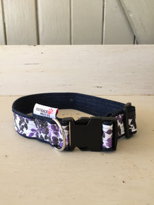 Rescued collar - Purple floral (small)