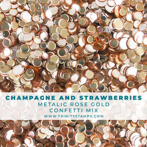 Champagne & Strawberries- Rose Gold Metalic Confetti Mix