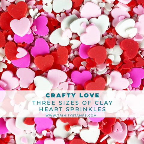Crafty Love - Mixed-Size Clay Heart Sprinkles Assortment