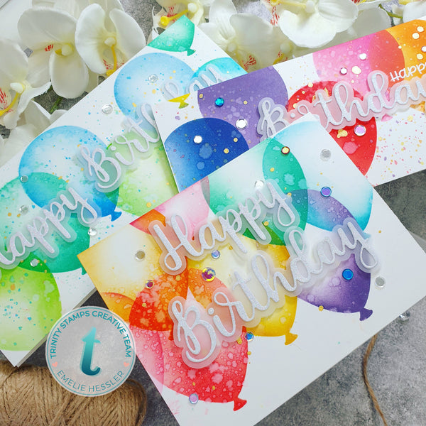"Slimline Layered Balloons- 6x9"" Laser Cut 2-Piece Stencil Set"