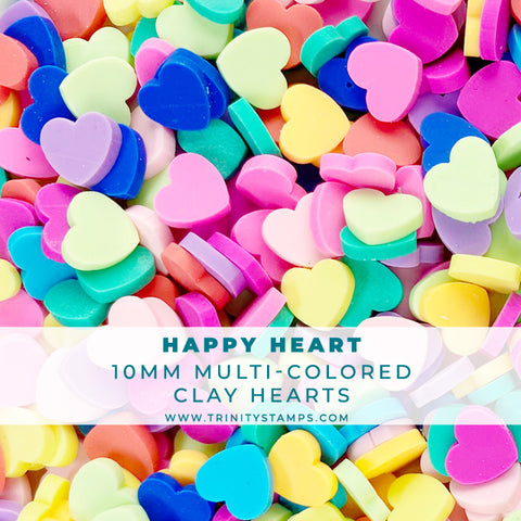 Happy Heart - 10mm Multi-Colored Clay Heart Sprinkles