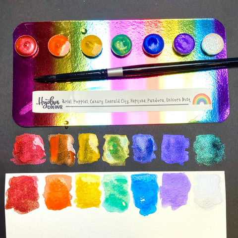 Shimmer Rainbow Sampler : Handmade Watercolor paints