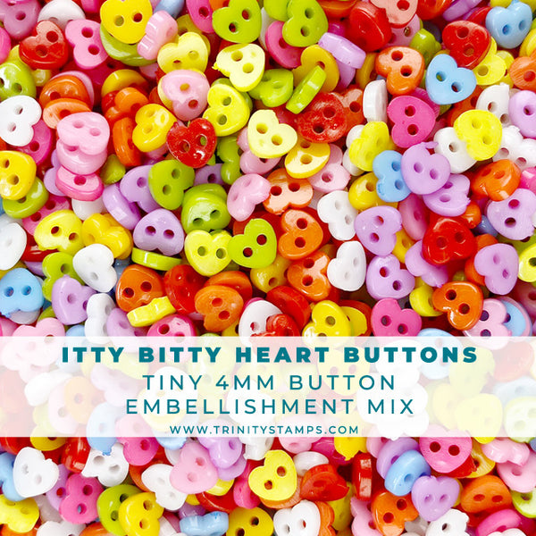 Itty Bitty Heart Buttons - 4mm button assortment
