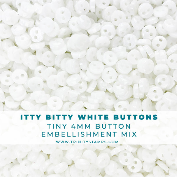 Itty Bitty White Buttons - 4mm button assortment
