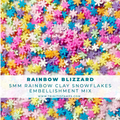 Rainbow Blizzard- Clay Snowflake Embellishment Mix