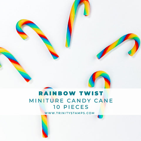 Rainbow Twist Candy Cane Embellishments