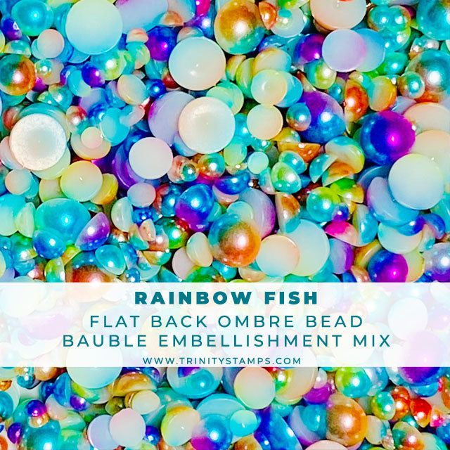 Rainbow Fish - Flat-Backed Ombre Smooth Bead Mix