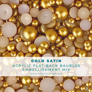 Gold Satin Baubles Embellishment Mix