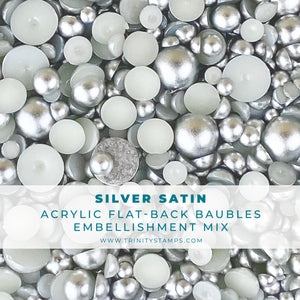 Silver Satin Baubles Embellishment Mix