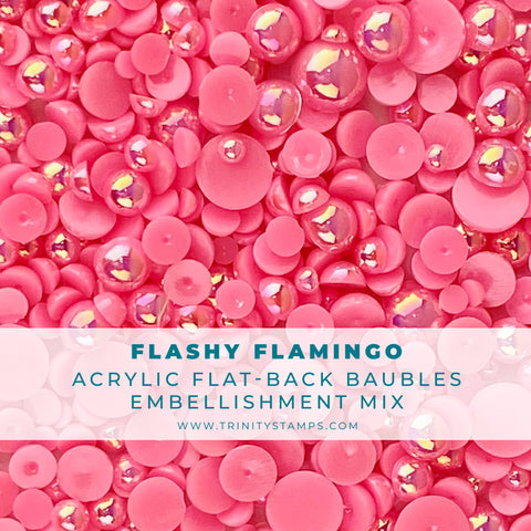 Flashy Flamingo Baubles Embellishment Mix