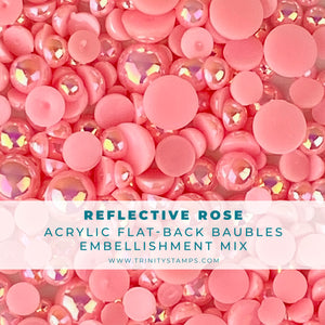 Reflective Rose Baubles Embellishment Mix