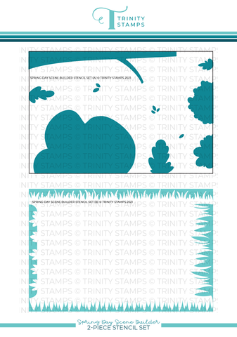 "Spring Day Scene Builder - 6x9"" Laser Cut 2-piece Layering Stencil Set"