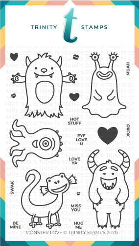 4x6 Monster Love Clear Photopolymer Stamp Set