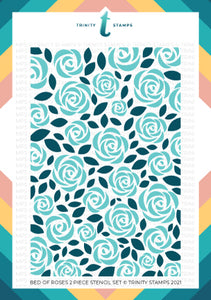 "Bed Of Roses - 6x9"" Laser Cut 2-piece Layering Stencil Set"