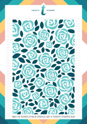 6x9 Bed Of Roses 2 Piece Layering Stencil Set