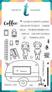 4x6 The Frappy Camper's PERKing Spot Clear Photopolymer Stamp Set *Trinity & CLC Exclusive Collaboration set*