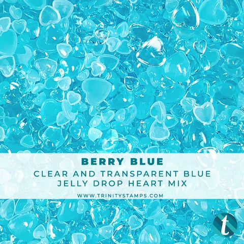 Berry Blue - Jelly Drop Hearts Embellishment Mix