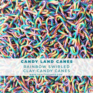 Candy Land Canes - Mini Rainbow Clay Embellishments
