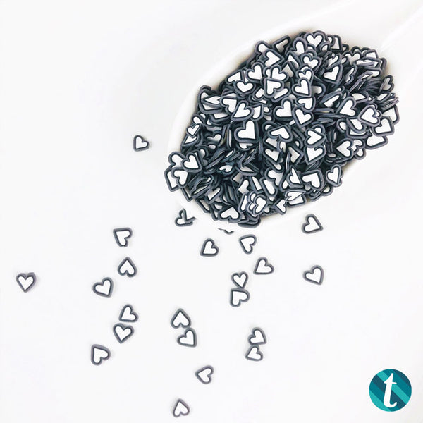 Chalkboard- Small Black & White Clay Heart Sprinkles