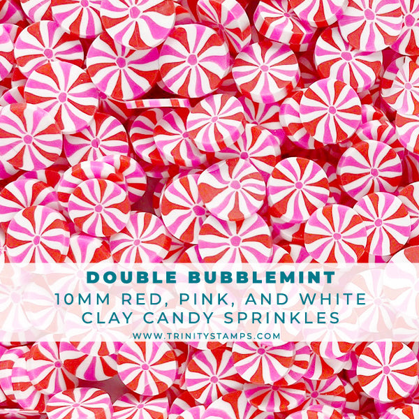 Double Bubblemint - 10mm Pink, White, & Red Clay Candy